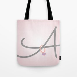Pink Letter A with Stitch Marker Tote Bag