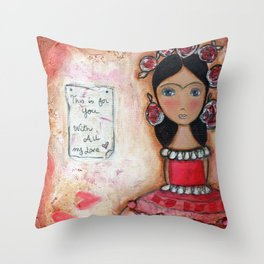 Frida in Rose by Flor Larios Throw Pillow