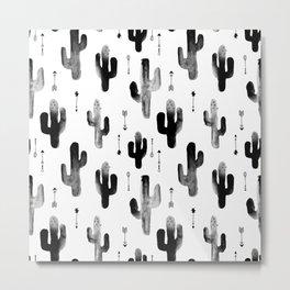 Black and white ink cactus garden indian summer Metal Print