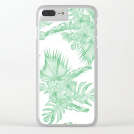 Island Tropical Green White Jungle Clear iPhone Case