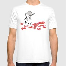 Birds MEDIUM White Mens Fitted Tee