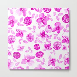 Neon Pink Florals // Hand Painted Watercolors // Neon Roses and Leaves Metal Print
