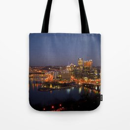 Pittsburgh, Pennsylvania Downtown Night Time River with Bridges Tote Bag
