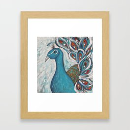 Blue Peacock with Blue Framed Art Print