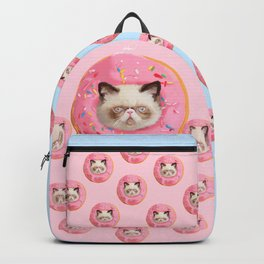 Persian Cat Strawberry Donut Backpack