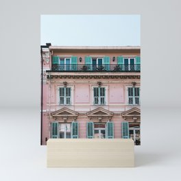 Old City San Remo | ITaly | Flower Riviera, coast. Light blue-pink travel photography poster Mini Art Print
