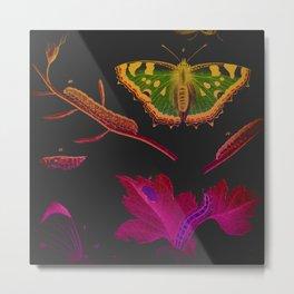 Butterfly on Black Metal Print