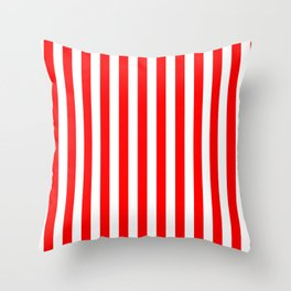 Red and White Candy Cane Vertical - Medium Stripes Throw Pillow