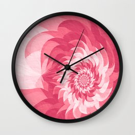 Pink fractal flower Wall Clock