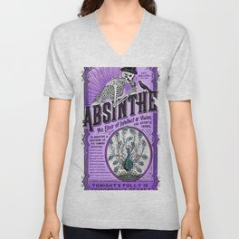 Vintage 1871 Purple Absinthe Liquor Skeleton Elixir Aperitif Cocktail Alcohol Advertisement Poster Unisex V-Neck