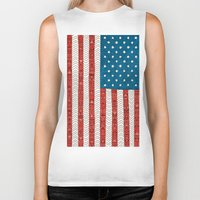 flag Biker Tanks featuring USA by Bianca Green