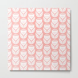 Mid Century Modern Flower Pattern Peach 333 Metal Print