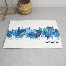 Karachi Pakistan Skyline Blue Rug