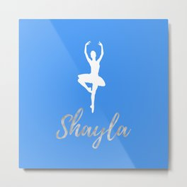 Shayla - Light Blue and Silver Metal Print