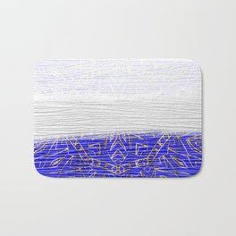 385 Blue Gold White Abstract Mandala Bath Mat