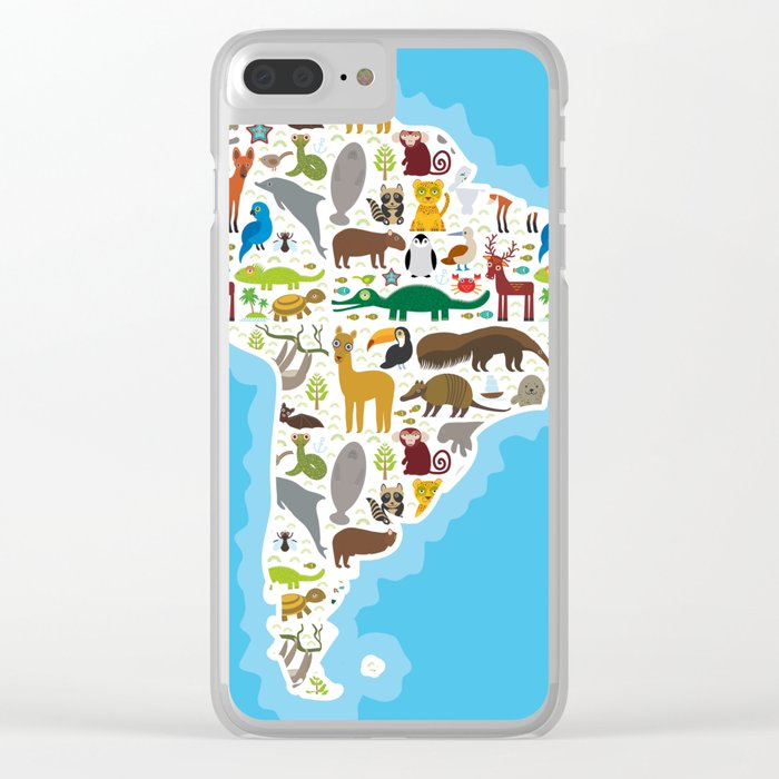 South America Sloth Anteater Toucan Lama Bat Seal Armadillo Boa Manatee Monkey Dolphin Maned Wolf Clear Iphone Case