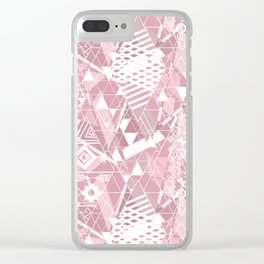 Abstract ethnic pattern in dusky pink, white colors. Clear iPhone Case