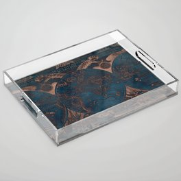 Rose gold and cobalt blue antique world map with sail ships Acrylic Tray