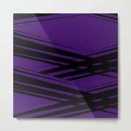 Black Diagonal Crossing On  Purple Metal Print