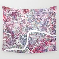 london map Wall Tapestries featuring London map by MapMapMaps.Watercolors