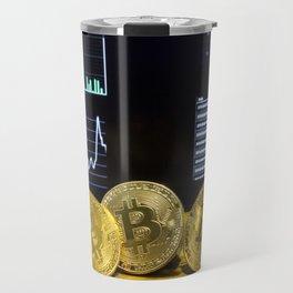 Bitcoin trio circuit market charts clean Travel Mug