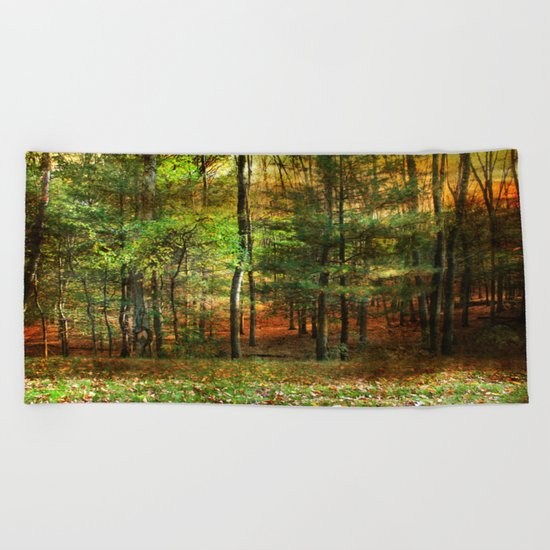 Autumn Sunset - In The Woods Beach Towel
