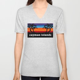 Cayman Islands Beach Sunset Caribbean Palm Trees Surfing Surf  Unisex V-Neck