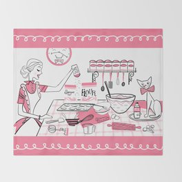 Baking Day Fun With Mister Kitty Throw Blanket