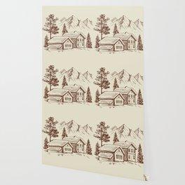 Wood Cabin in Winter Landscape Wallpaper