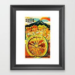 Sicily Italy Vintage Travel Ad Framed Art Print