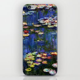 Water Lilies at Twilight impressionist painting by Claude Monet iPhone Skin