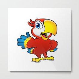 Cute cartoon colorful macaw  Metal Print