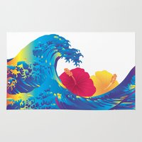 hokusai Area & Throw Rugs featuring Hokusai Rainbow & Hibiscus_YR by FACTORIE