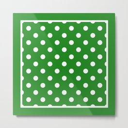 Forest Green Polka Dots Repeating Pattern Metal Print
