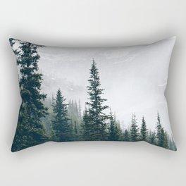 Evergreens in the fog Rectangular Pillow