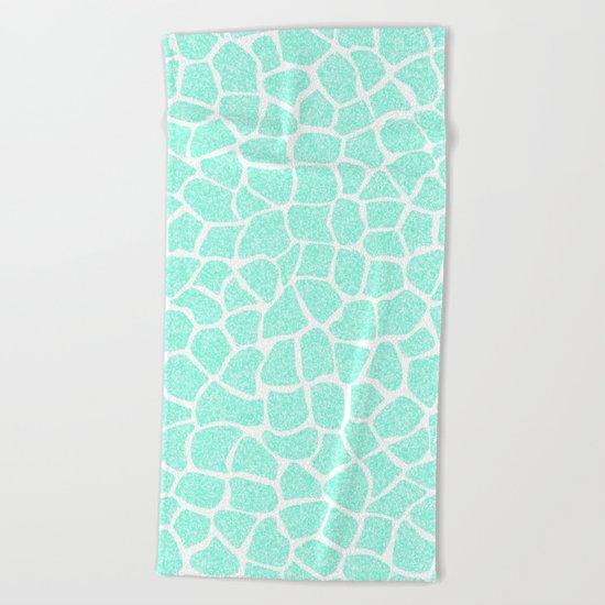 Light Blue Glitter Giraffe Print Beach Towel
