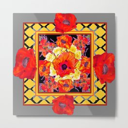 DECORATIVE GREY FLORAL  ABSTRACTED  ORANGE-RED POPPIES Metal Print