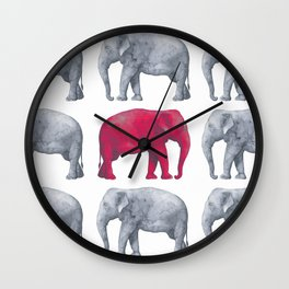Elephants Red II Wall Clock