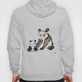 Mother and Baby Black Ink Panda Bears Illustration Hoody