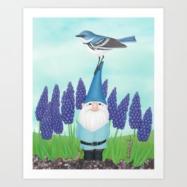 gnome with cerulean warbler and grape hyacinths Art Print