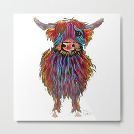 Scottish Highland Cow ' MacDOUGHNUT ' by Shirley MacArthur Metal Print
