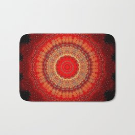 Vibrant Red Gold and black Mandala Bath Mat
