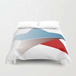 Ombre red white and blue star Duvet Cover