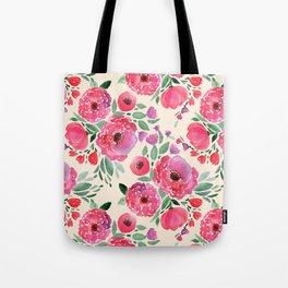 Pink-red flowers on beige. Tote Bag