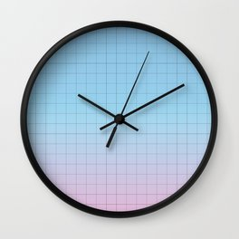 Minimal Gradient Grid Blue and Pink Wall Clock