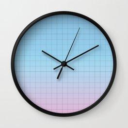 Minimal Gradient Grid Blue and Pink Wall Clock
