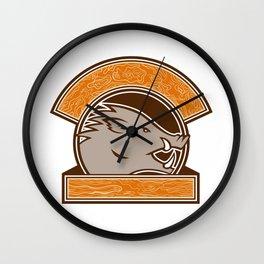 Wood Boar Head Circle Retro Wall Clock