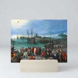 "Jan Brueghel the Elder ""Harbor Scene with St. Paul's Departure from Caesarea"" Mini Art Print"