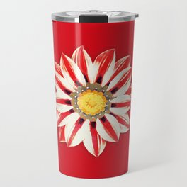 African Daisy / Gazania - Red and White Striped Travel Mug