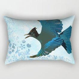 Steller's Jay Blue Floral Rectangular Pillow